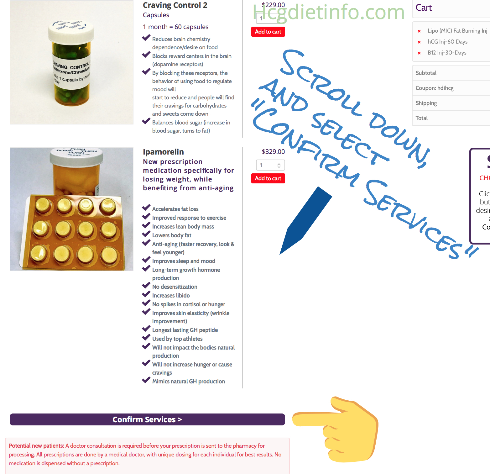 "Diet Doc Coupon Codes: ""Confirm Services"" at bottom Hcg sales page."