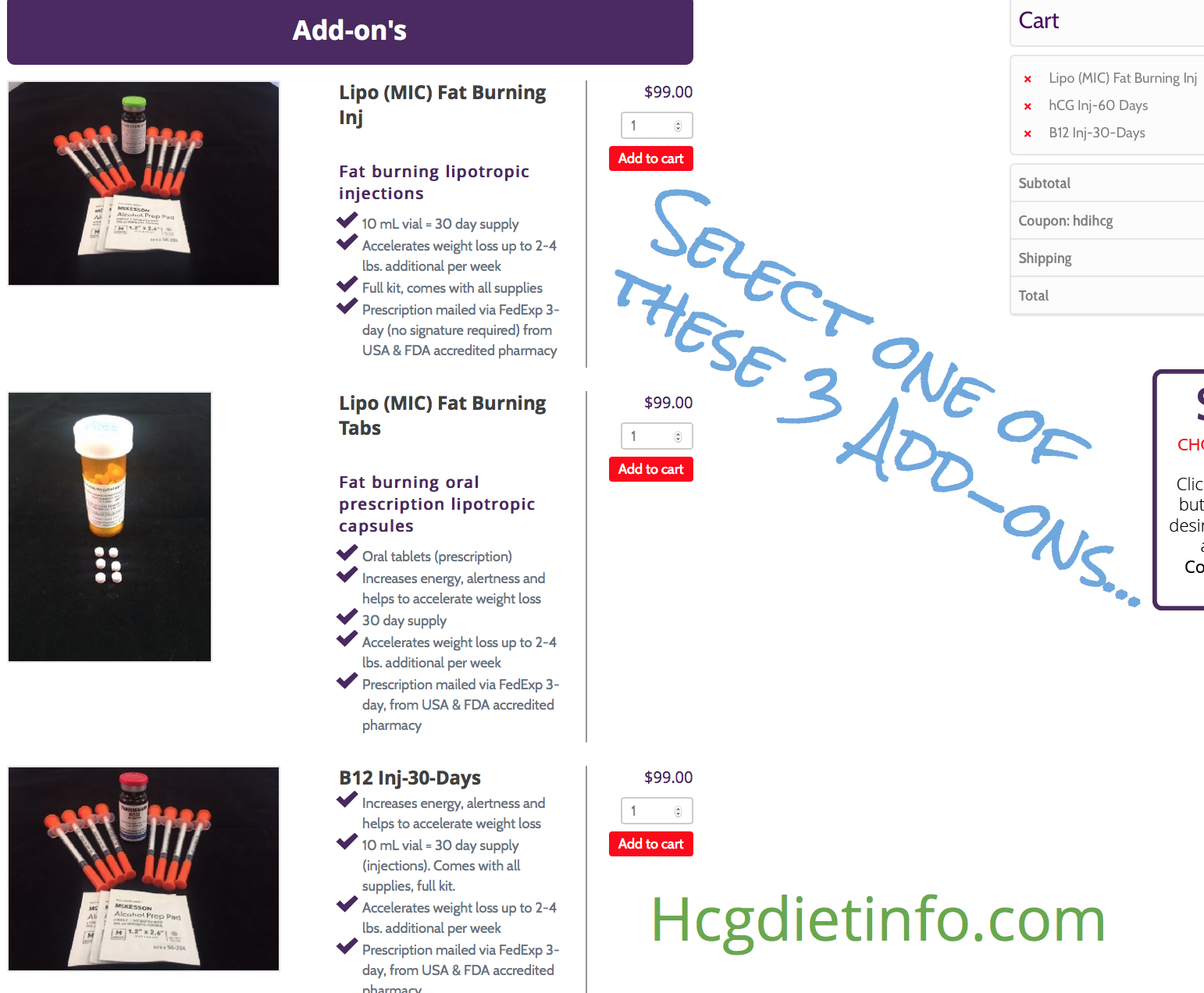 "Step3: Select a Diet Doc Hcg Sale ""Add-on"" for Free"